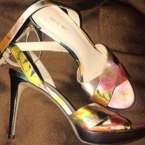 Nine West Rose Watercolor Heels 7.5M